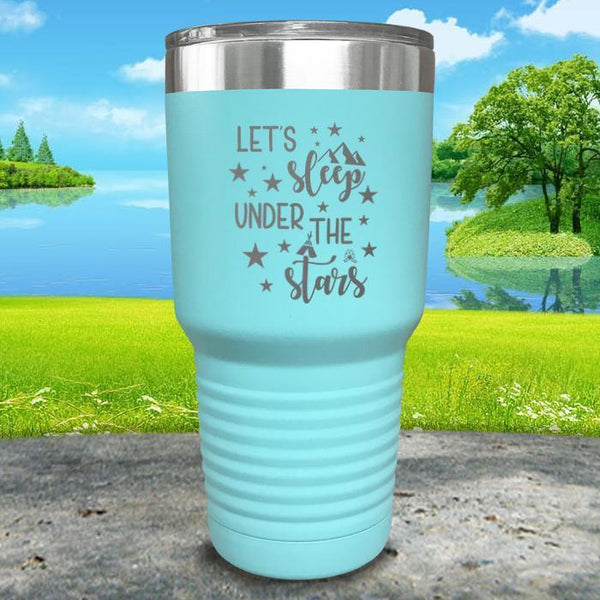 Let's Sleep Under the Stars Engraved Tumbler Tumbler ZLAZER 30oz Tumbler Mint
