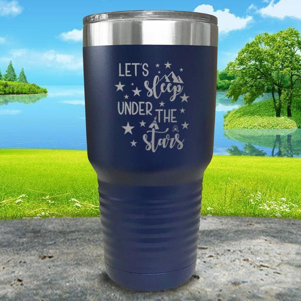 Let's Sleep Under the Stars Engraved Tumbler Tumbler ZLAZER 30oz Tumbler Navy