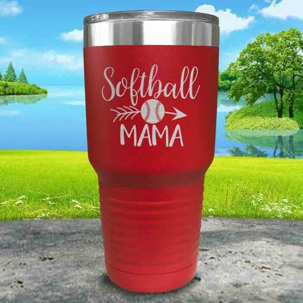 Softball Mama Engraved Tumbler Tumbler ZLAZER 30oz Tumbler Red