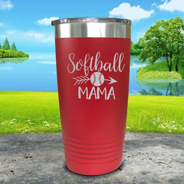 Softball Mama Engraved Tumbler Tumbler ZLAZER 20oz Tumbler Red