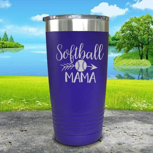 Softball Mama Engraved Tumbler Tumbler ZLAZER 20oz Tumbler Royal Purple