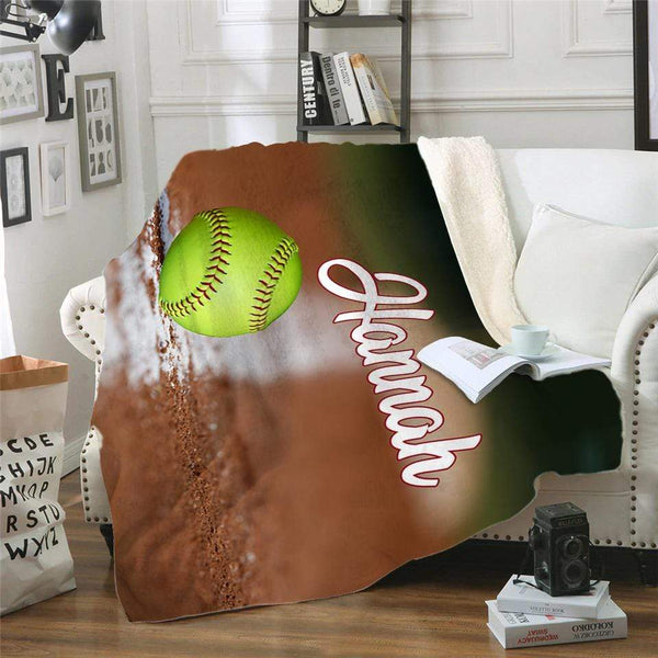 Personalized Softball Sherpa Blanket