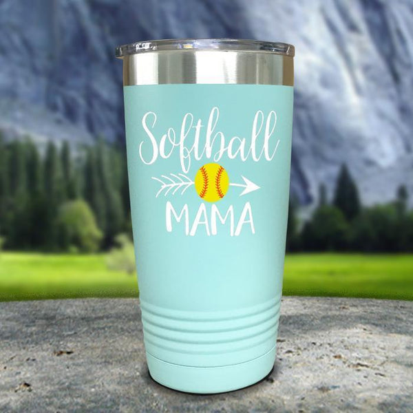 Softball Mama Color Printed Tumblers Tumbler Nocturnal Coatings 20oz Tumbler Mint