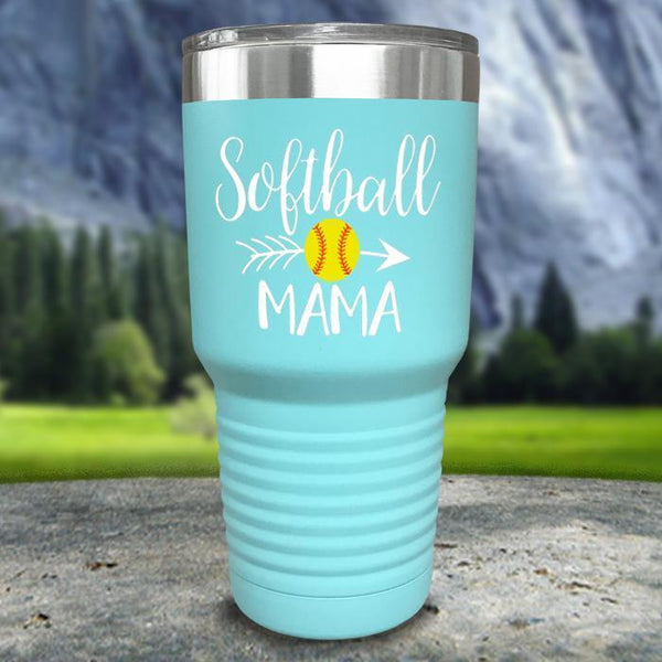 Softball Mama Color Printed Tumblers Tumbler Nocturnal Coatings 30oz Tumbler Mint