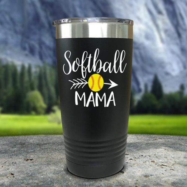 Softball Mama Color Printed Tumblers Tumbler Nocturnal Coatings 20oz Tumbler Black