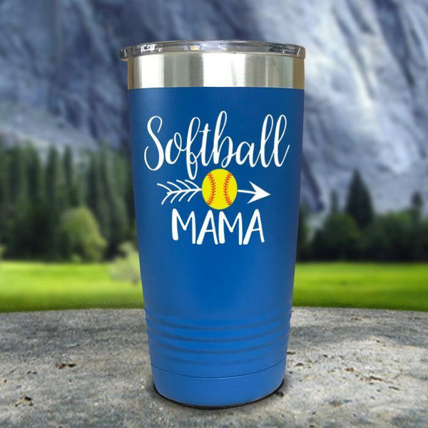 Softball Mama Color Printed Tumblers Tumbler Nocturnal Coatings 20oz Tumbler Blue
