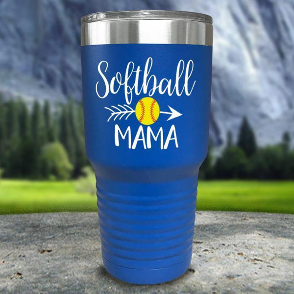 Softball Mama Color Printed Tumblers Tumbler Nocturnal Coatings 30oz Tumbler Blue