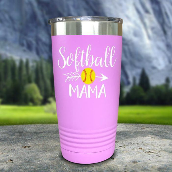 Softball Mama Color Printed Tumblers Tumbler Nocturnal Coatings 20oz Tumbler Lavender