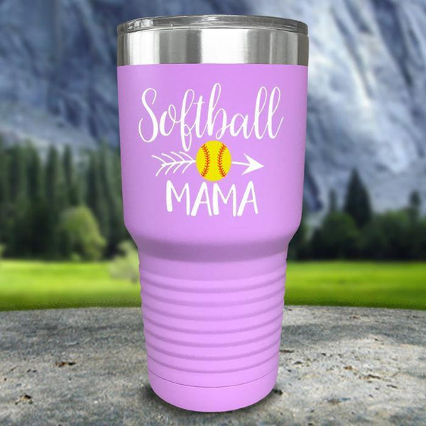 Softball Mama Color Printed Tumblers Tumbler Nocturnal Coatings 30oz Tumbler Lavender