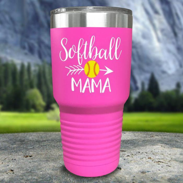 Softball Mama Color Printed Tumblers Tumbler Nocturnal Coatings 30oz Tumbler Pink