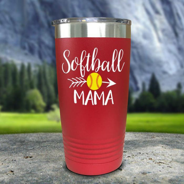 Softball Mama Color Printed Tumblers Tumbler Nocturnal Coatings 20oz Tumbler Red