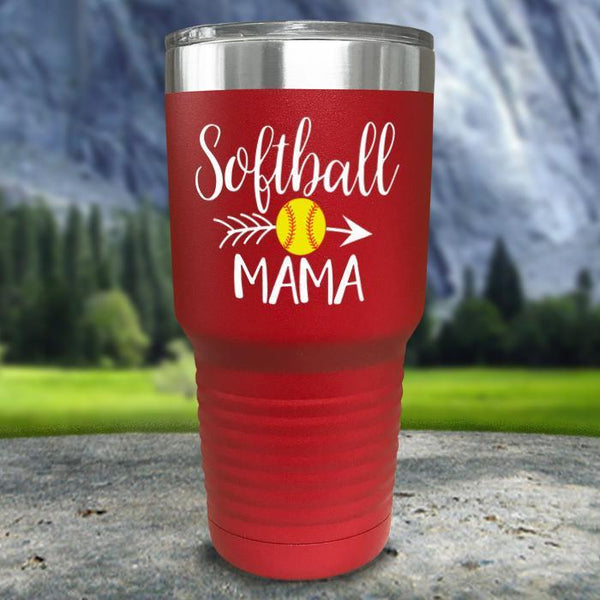 Softball Mama Color Printed Tumblers Tumbler Nocturnal Coatings 30oz Tumbler Red