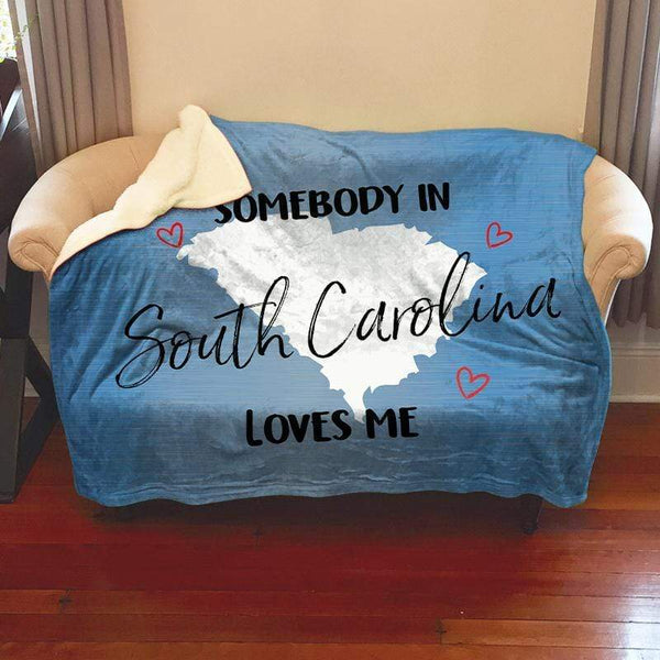 Somebody Loves Me (CUSTOM) Sherpa Blanket Blankets CustomCat South Carolina