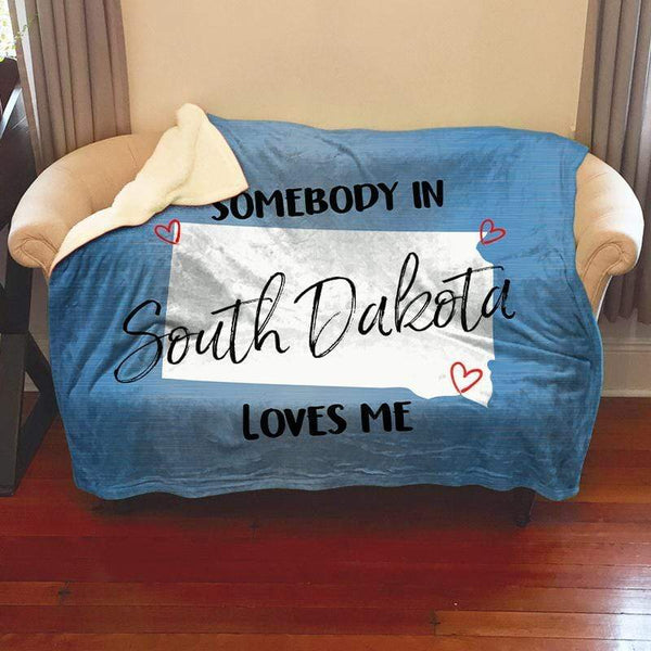 Somebody Loves Me (CUSTOM) Sherpa Blanket Blankets CustomCat South Dakota