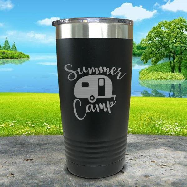 Summer Camp Engraved Tumbler Tumbler ZLAZER 20oz Tumbler Black