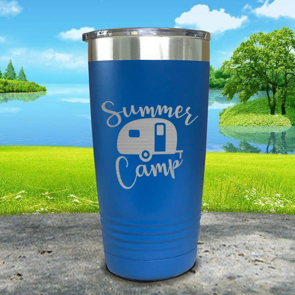 Summer Camp Engraved Tumbler Tumbler ZLAZER 20oz Tumbler Blue