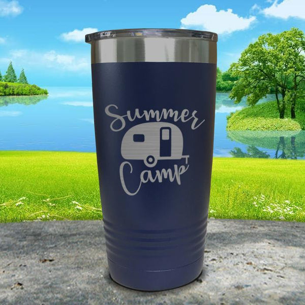 Summer Camp Engraved Tumbler Tumbler ZLAZER 20oz Tumbler Navy