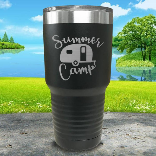 Summer Camp Engraved Tumbler Tumbler ZLAZER 30oz Tumbler Black