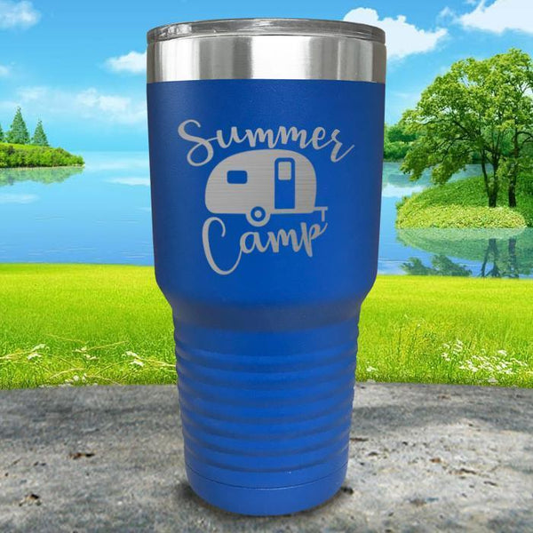 Summer Camp Engraved Tumbler Tumbler ZLAZER 30oz Tumbler Blue