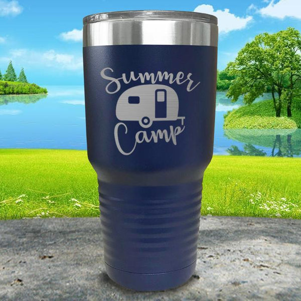 Summer Camp Engraved Tumbler Tumbler ZLAZER 30oz Tumbler Navy