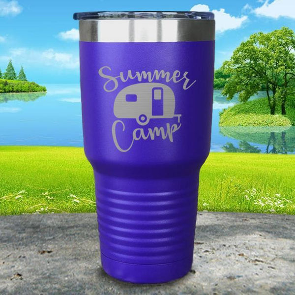 Summer Camp Engraved Tumbler Tumbler ZLAZER 30oz Tumbler Royal Purple
