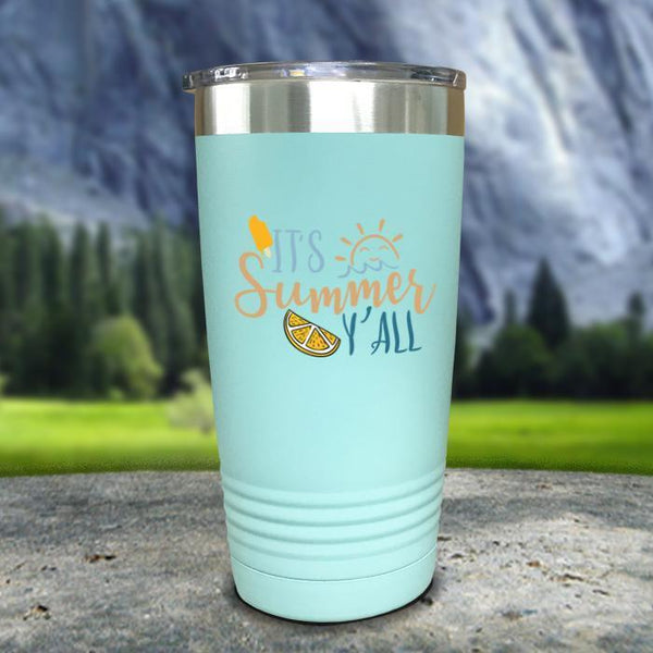 It's Summer Y'all Color Printed Tumblers Tumbler Nocturnal Coatings 20oz Tumbler Mint