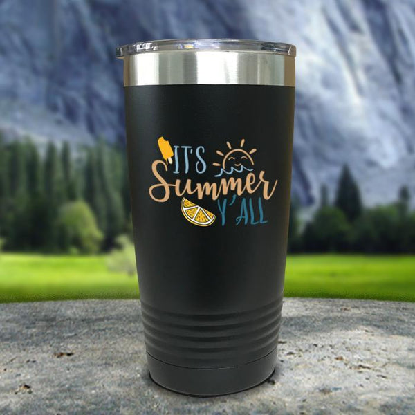 It's Summer Y'all Color Printed Tumblers Tumbler Nocturnal Coatings 20oz Tumbler Black