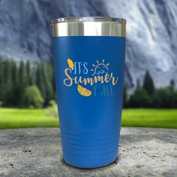 It's Summer Y'all Color Printed Tumblers Tumbler Nocturnal Coatings 20oz Tumbler Blue
