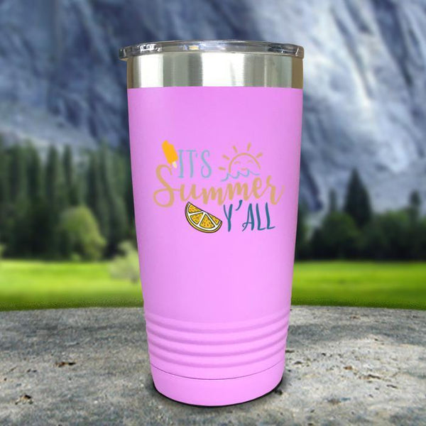 It's Summer Y'all Color Printed Tumblers Tumbler Nocturnal Coatings 20oz Tumbler Lavender