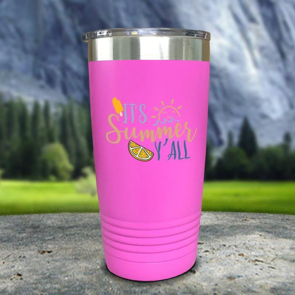 It's Summer Y'all Color Printed Tumblers Tumbler Nocturnal Coatings 20oz Tumbler Pink