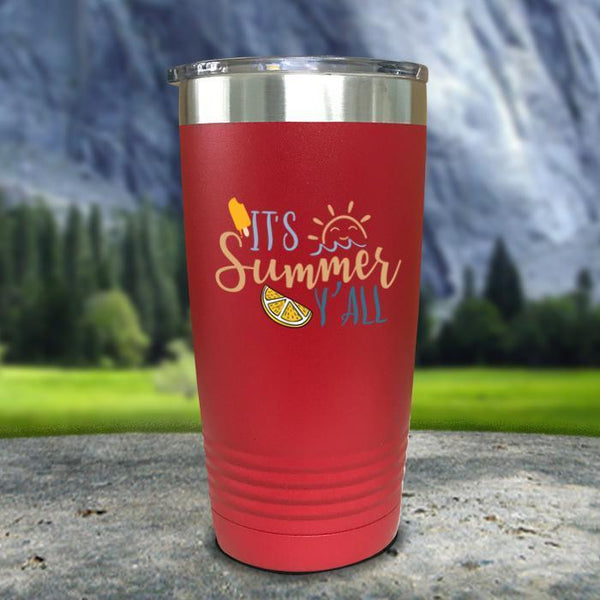 It's Summer Y'all Color Printed Tumblers Tumbler Nocturnal Coatings 20oz Tumbler Red