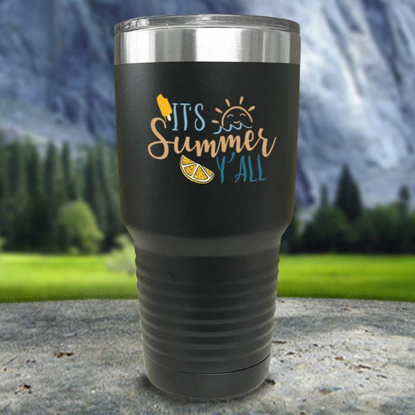 It's Summer Y'all Color Printed Tumblers Tumbler Nocturnal Coatings 30oz Tumbler Black
