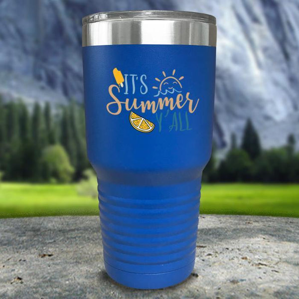 It's Summer Y'all Color Printed Tumblers Tumbler Nocturnal Coatings 30oz Tumbler Blue