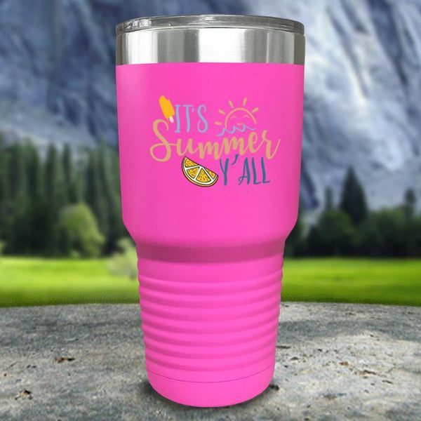 It's Summer Y'all Color Printed Tumblers Tumbler Nocturnal Coatings 30oz Tumbler Pink