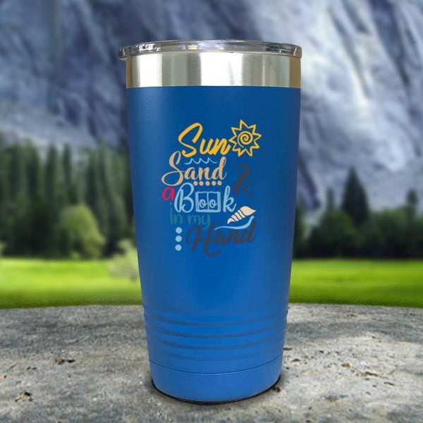 Sun Sand and A Book In My Hand Color Printed Tumblers Tumbler Nocturnal Coatings 20oz Tumbler Blue