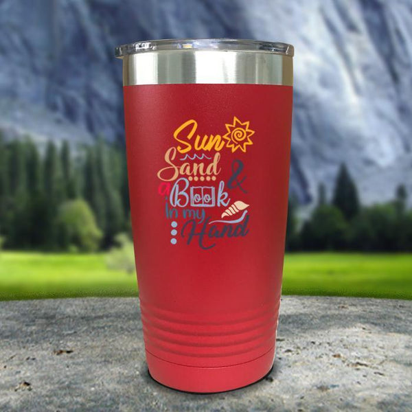Sun Sand and A Book In My Hand Color Printed Tumblers Tumbler Nocturnal Coatings 20oz Tumbler Red