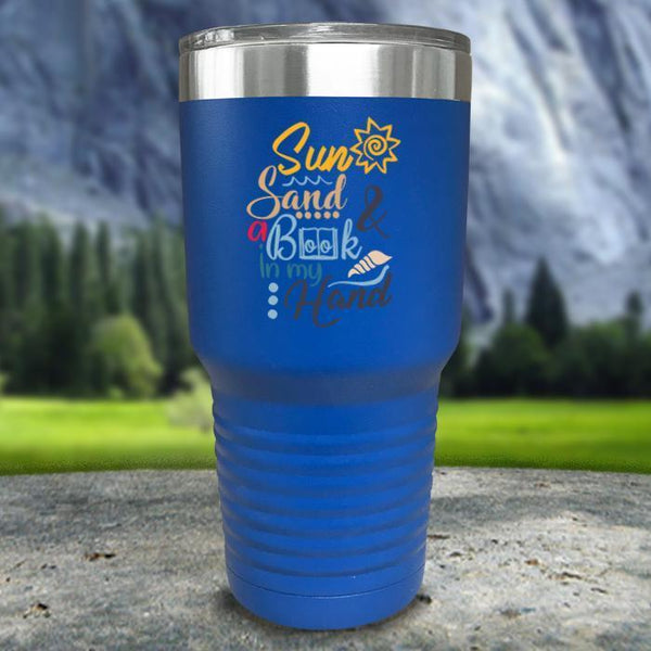 Sun Sand and A Book In My Hand Color Printed Tumblers Tumbler Nocturnal Coatings 30oz Tumbler Blue