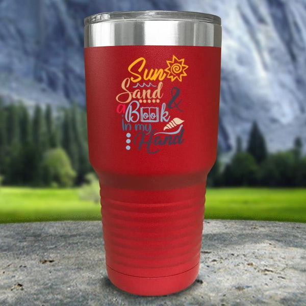 Sun Sand and A Book In My Hand Color Printed Tumblers Tumbler Nocturnal Coatings 30oz Tumbler Red