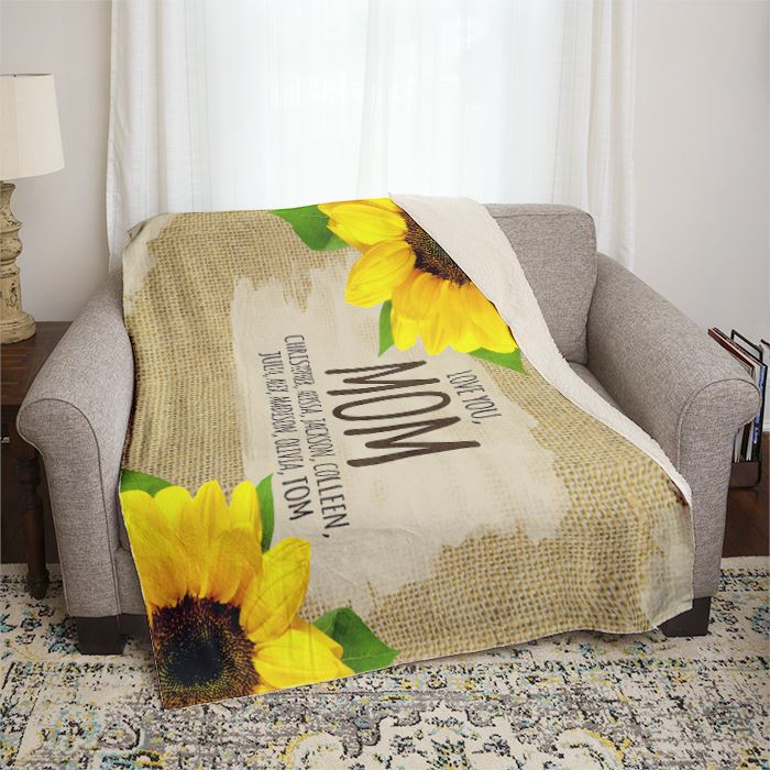 Mom We Love You Sunflowers and Burlap Personalized Mom Throw Blankets