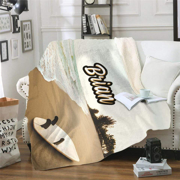 Surfing Personalized Sherpa Blanket
