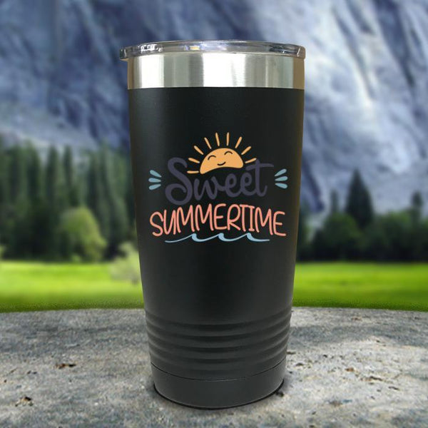 Sweet Summertime Color Printed Tumblers Tumbler Nocturnal Coatings 20oz Tumbler Black
