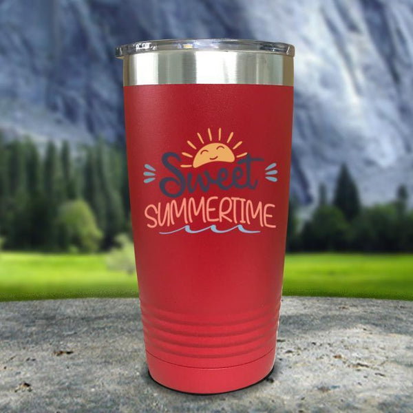 Sweet Summertime Color Printed Tumblers Tumbler Nocturnal Coatings 20oz Tumbler Red