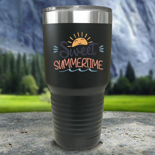Sweet Summertime Color Printed Tumblers Tumbler Nocturnal Coatings 30oz Tumbler Black