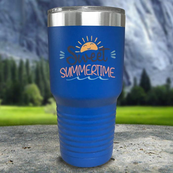 Sweet Summertime Color Printed Tumblers Tumbler Nocturnal Coatings 30oz Tumbler Blue