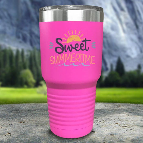 Sweet Summertime Color Printed Tumblers Tumbler Nocturnal Coatings 30oz Tumbler Pink