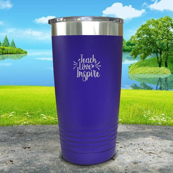 Teach Love Inspire Engraved Tumbler Tumbler ZLAZER 20oz Tumbler Royal Purple