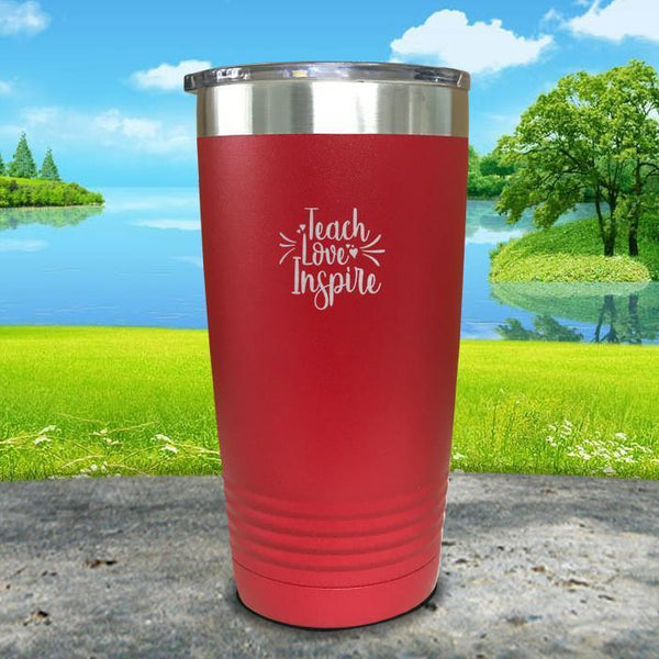 Teach Love Inspire Engraved Tumbler Tumbler ZLAZER 20oz Tumbler Red