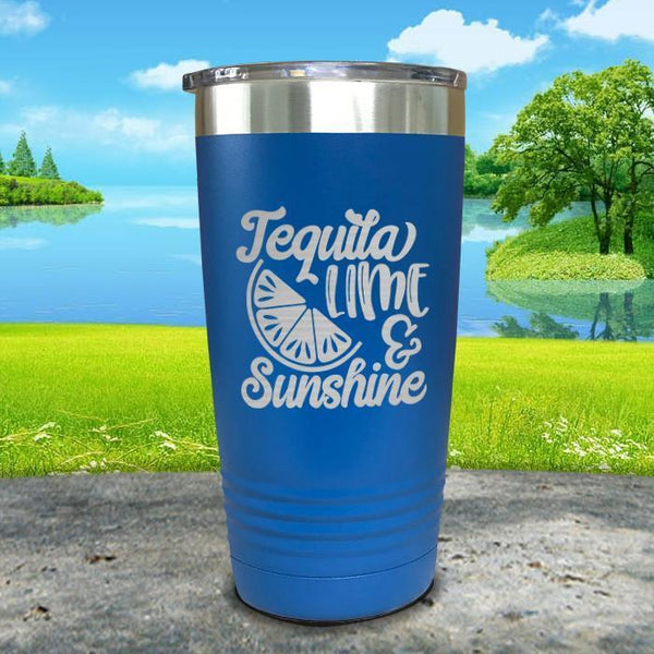 Tequila Lime and Sunshine Engraved Tumbler Tumbler ZLAZER 20oz Tumbler Blue