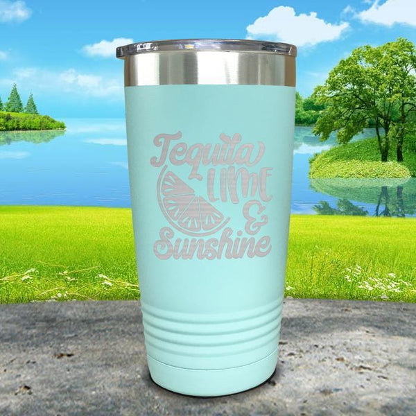 Tequila Lime and Sunshine Engraved Tumbler Tumbler ZLAZER 20oz Tumbler Mint