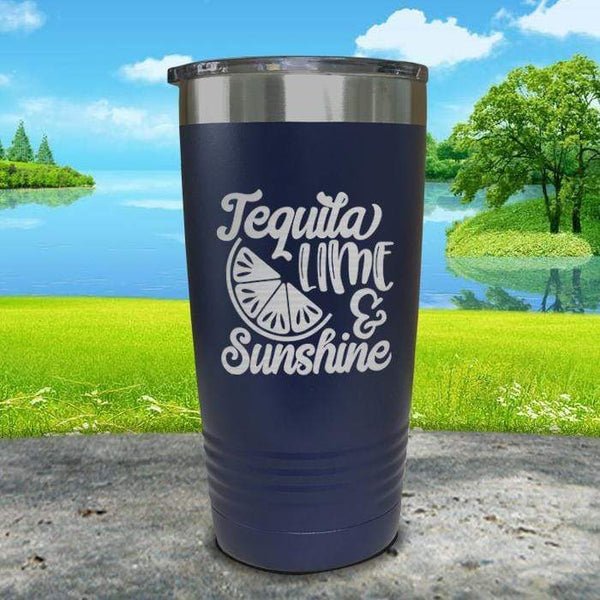 Tequila Lime and Sunshine Engraved Tumbler Tumbler ZLAZER 20oz Tumbler Navy